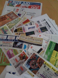 Coupons on my kitchen table