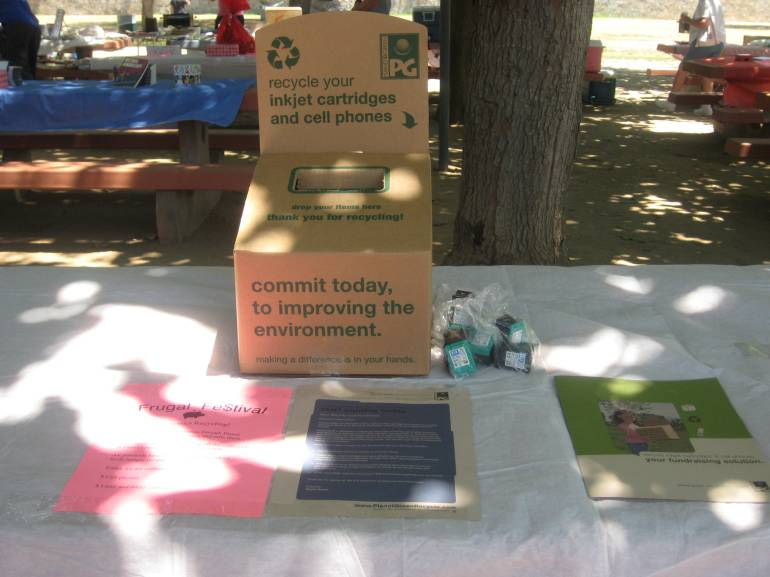 Planet Green collected used cell phones and printer cartridges to benefit the LA Food Bank.