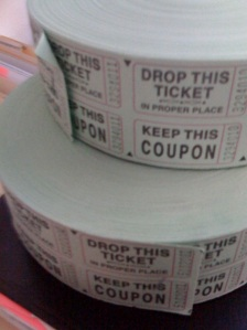 Raffle tickets two rolls green